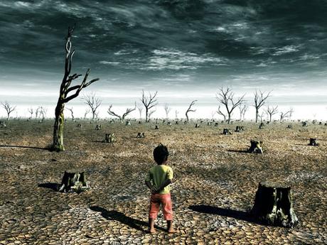 Un niño en un campo desolado por el cambio climático