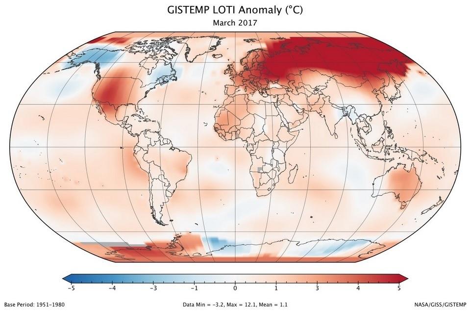 Temperaturas en marzo de 2017 en el planeta