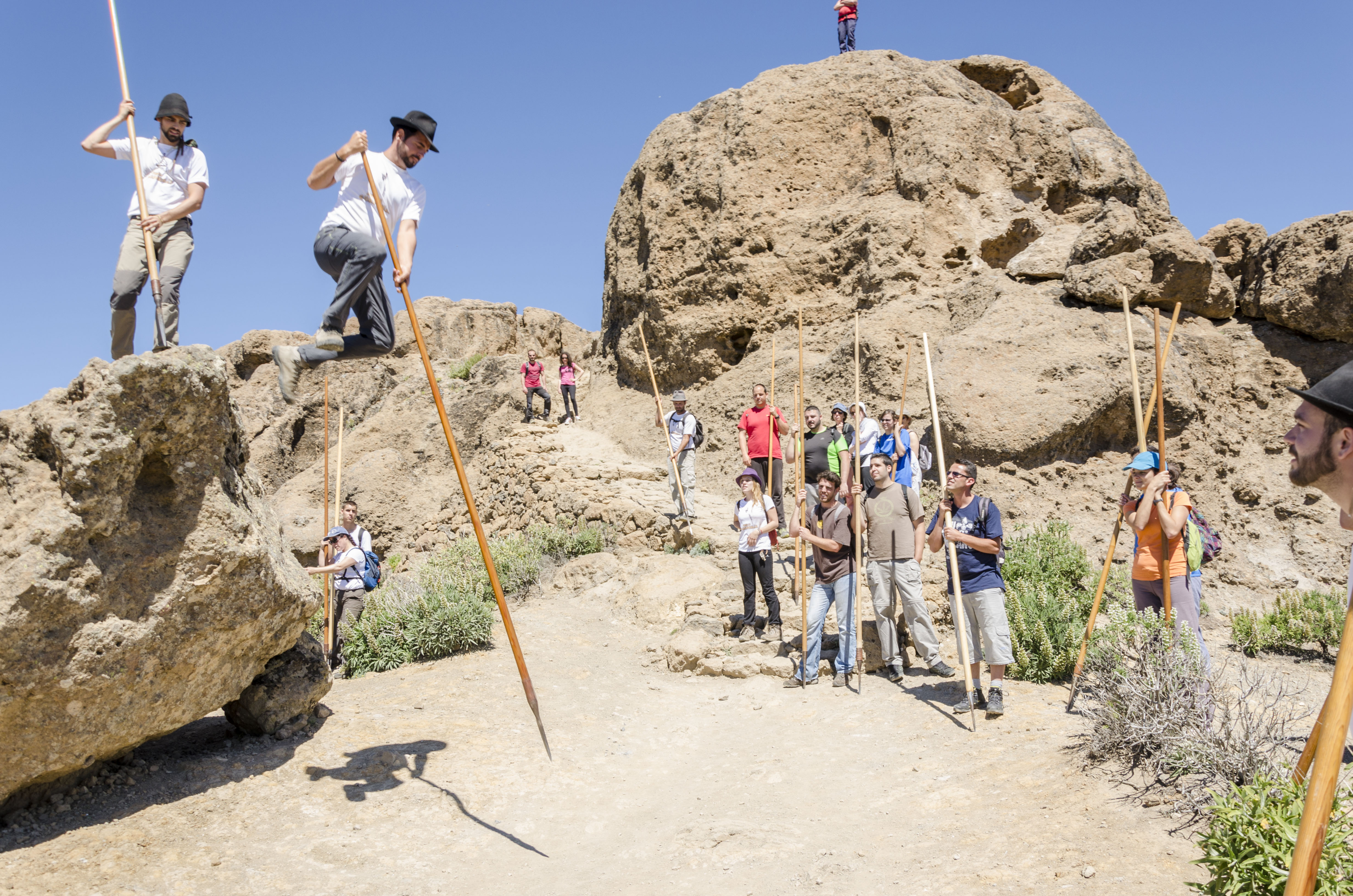 Salto del pastor en las cumbres de Gran Canaria