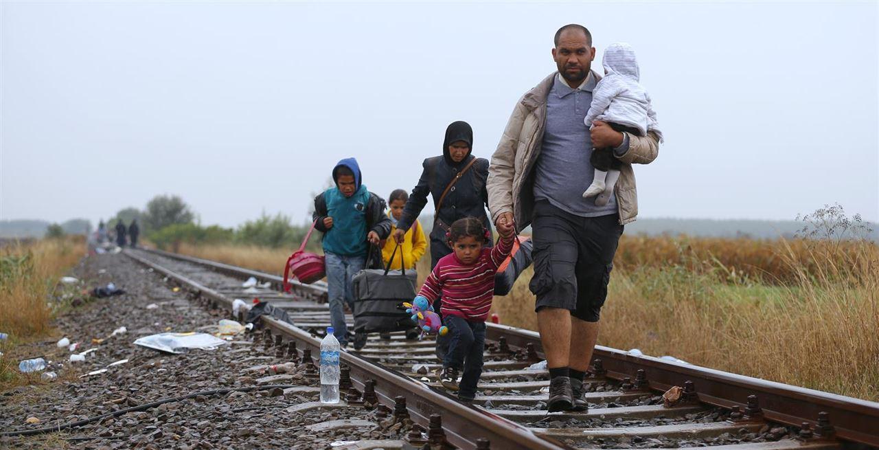 Una familia de refugiados