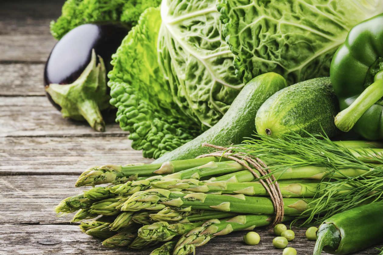 Verduras de color verde