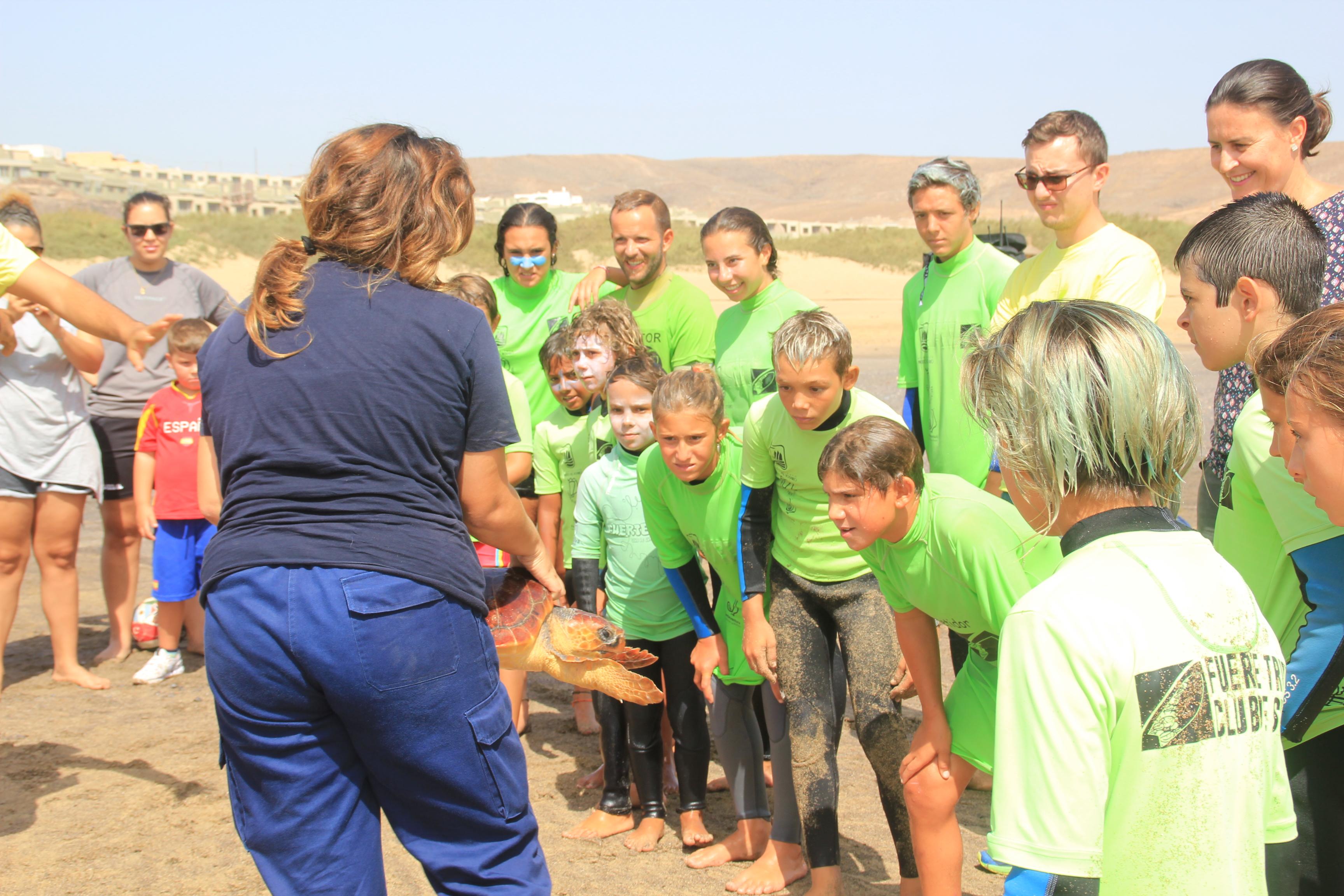 Suelta de tortuga en Playa Blanca