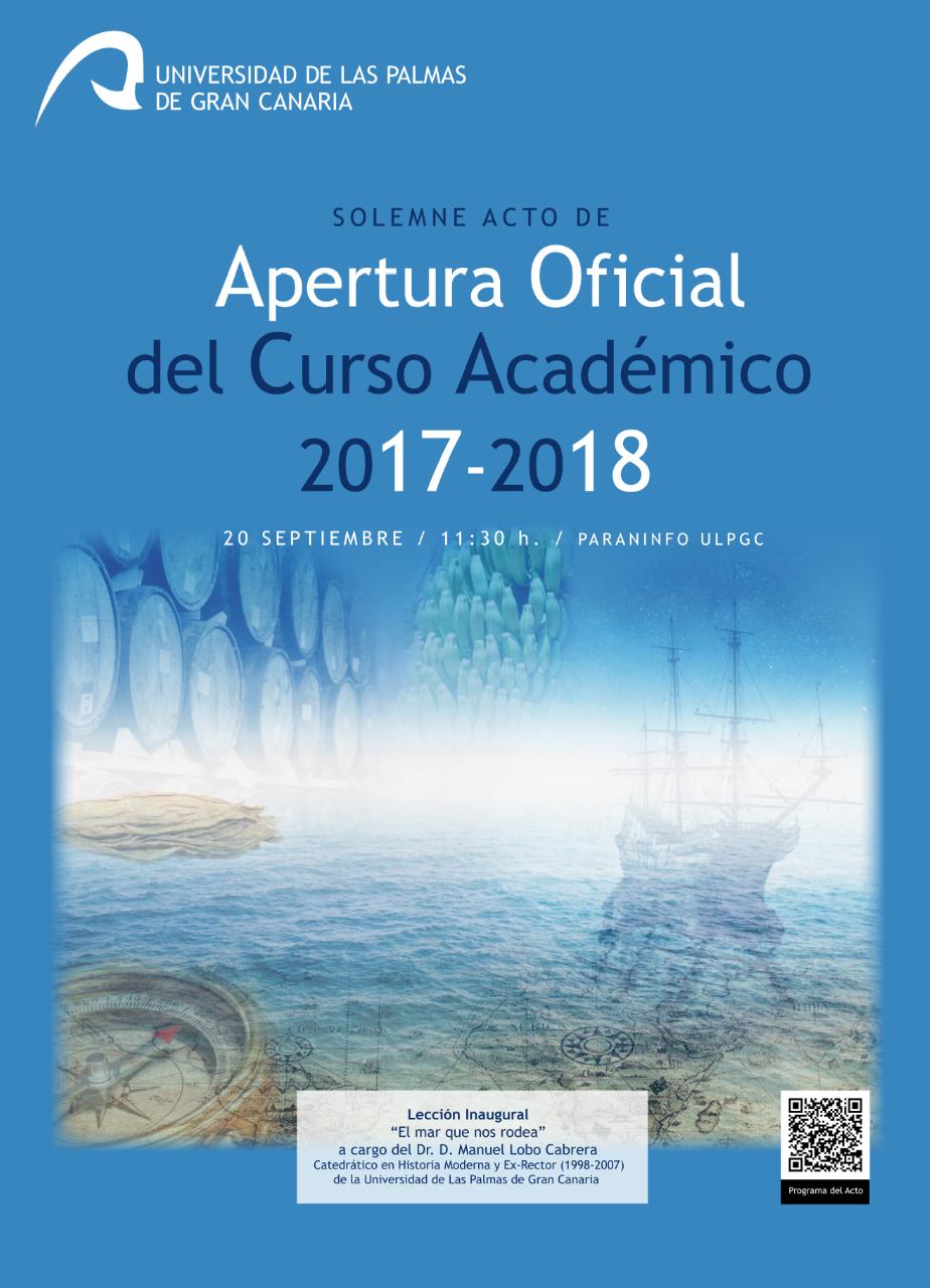 Cartel del Acto Académico de Apertura Oficial del Curso Académico 2017-2018 de la Universidad de Las Palmas de Gran Canaria (ULPGC)