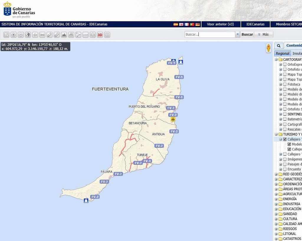 Grafcan actualiza el mapa callejero de Fuerteventura