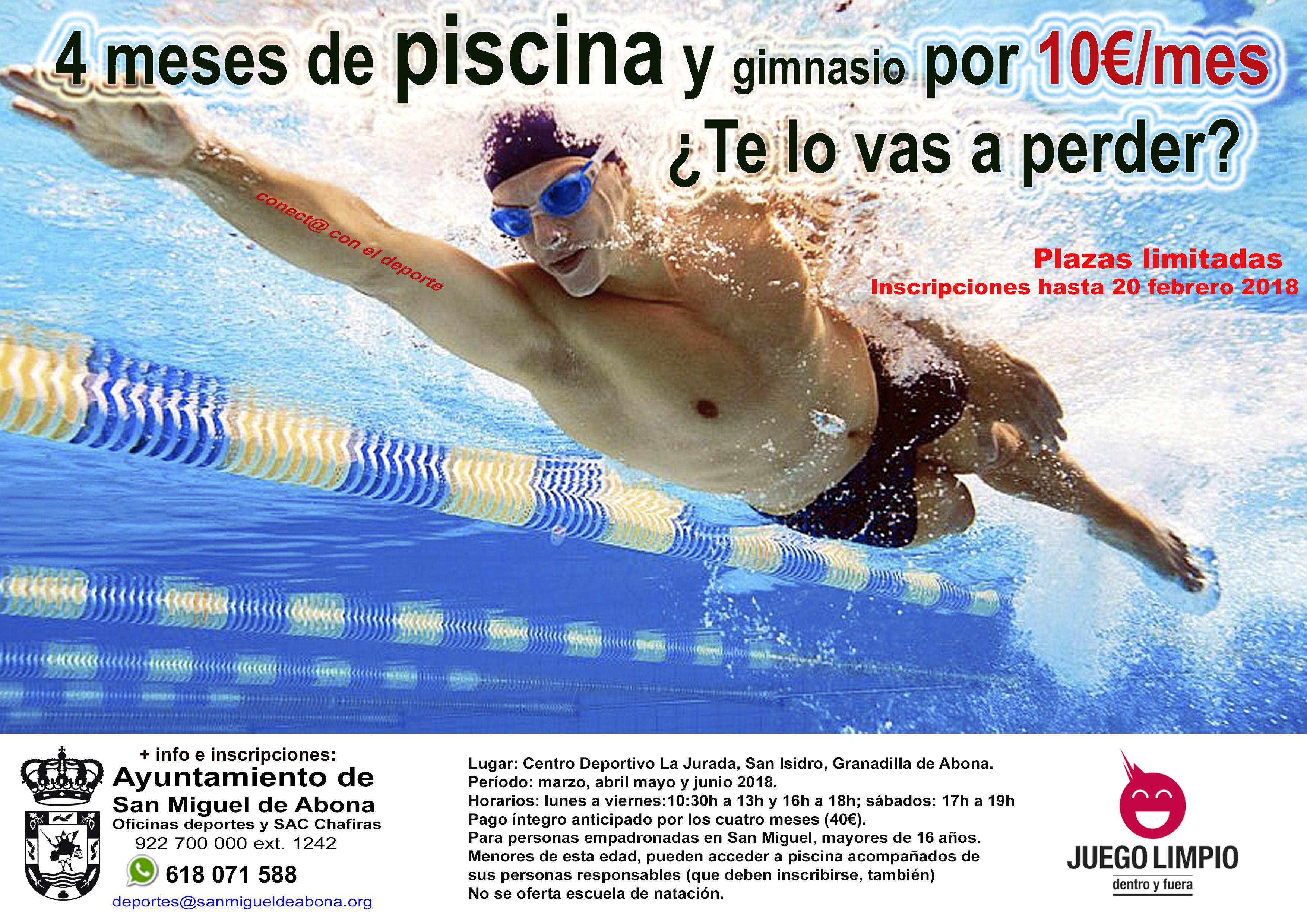 cartel anunciando la natación en san miguel de abona
