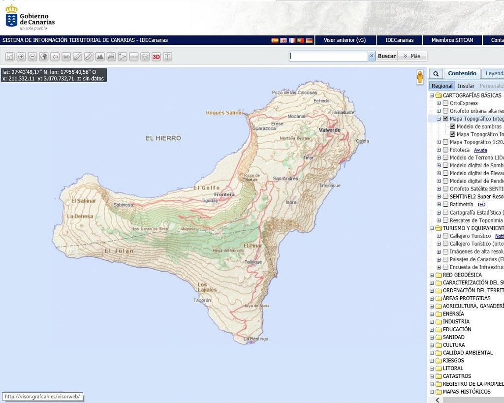 Política Territorial actualiza, a través de Grafcan, más de 26.000 hectáreas del mapa topográfico integrado de El Hierro