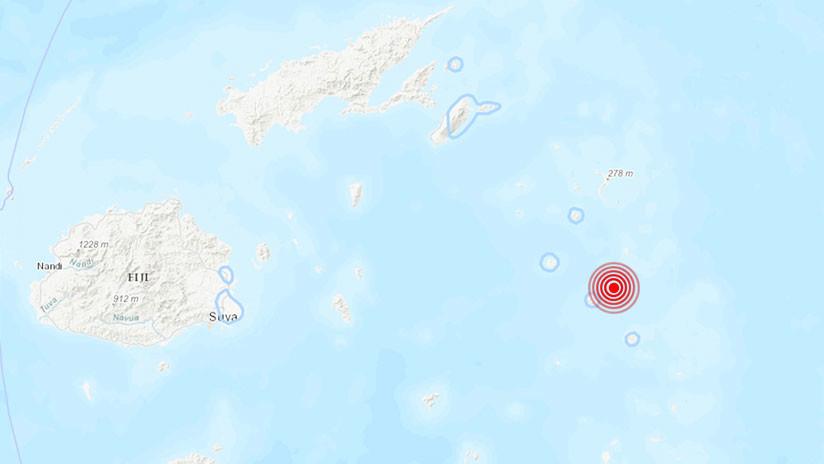 Mapa con el epicentro del terremoto