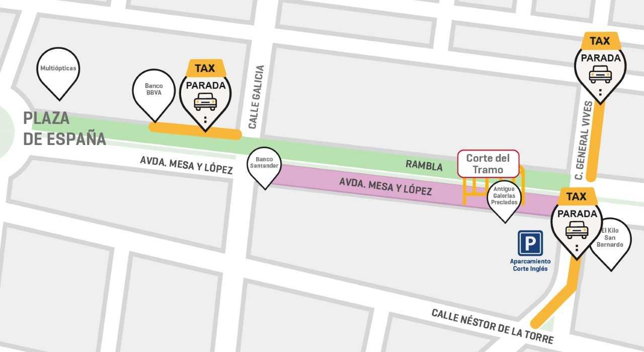 Mesa y López cierra al tráfico un nuevo tramo este martes por las obras de la MetroGuagua