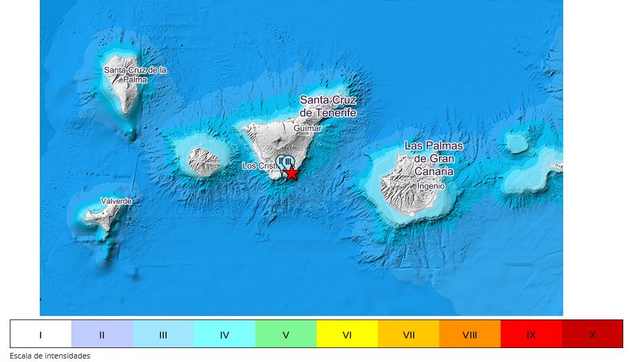 intensidad del terremoto del sur de Tenerife