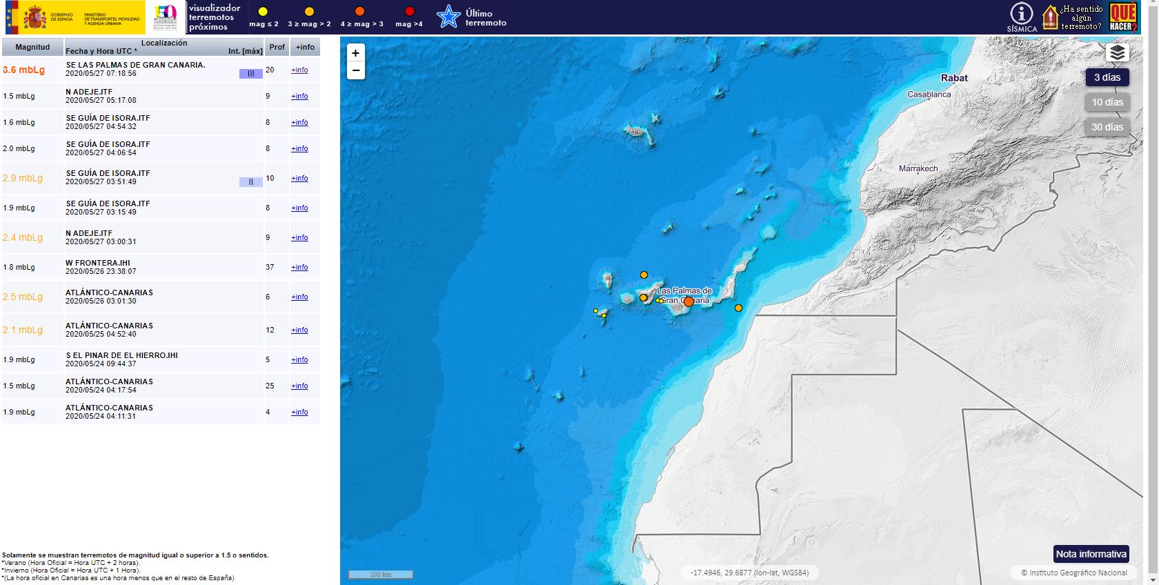 Movimientos sísmicos en Canarias 27052020