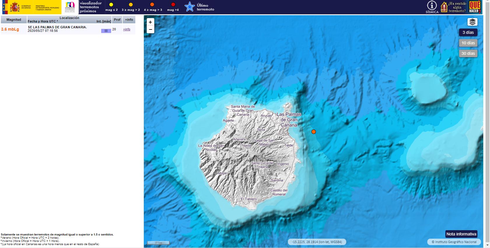 Movimiento sísmico cercano a Gran Canaria  27052020