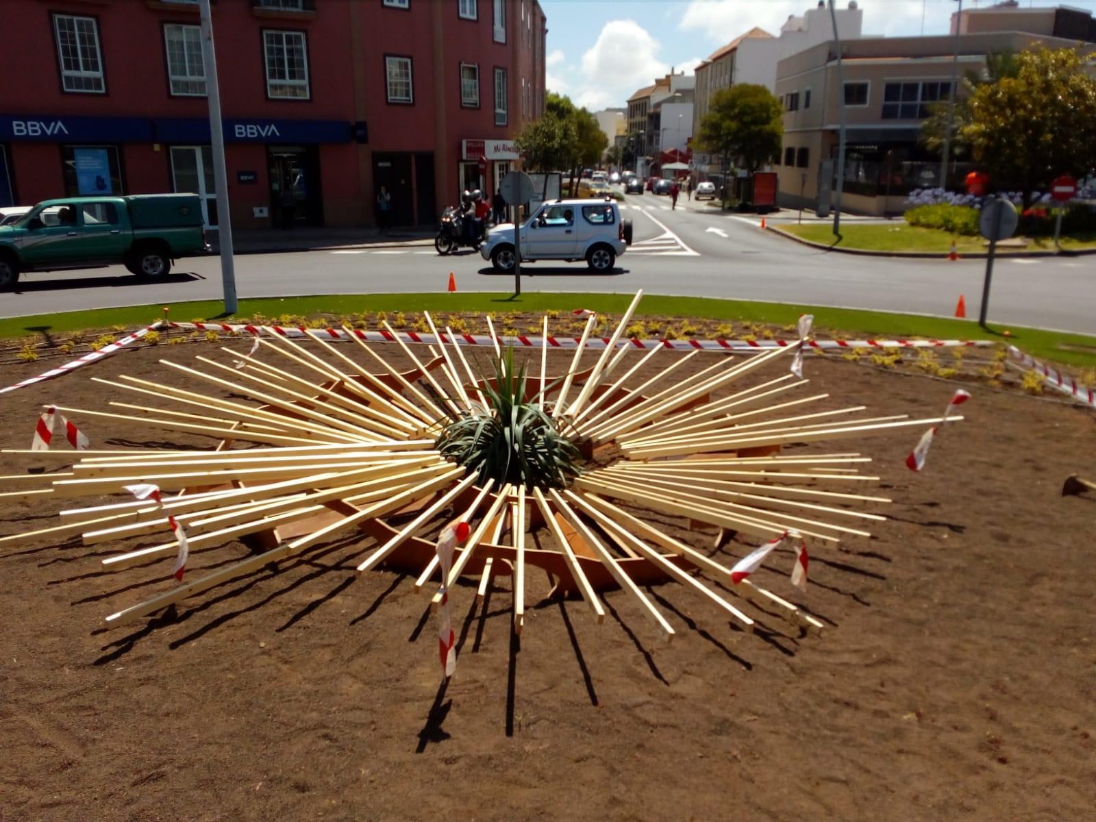 Trabajos del nuevo jardín canario en San Benito de La Laguna