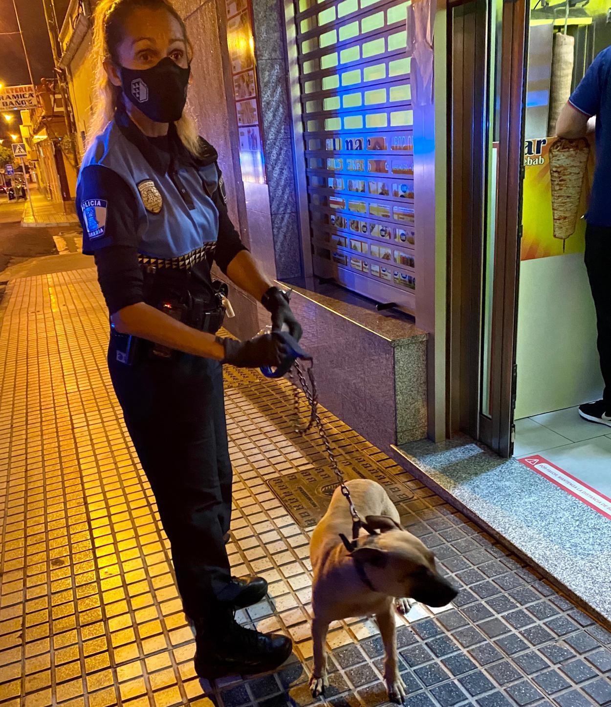 Policía Local de Las Palmas de Gran Canaria con el perro maltratado