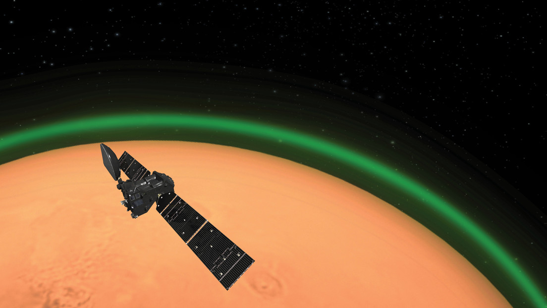 Recreación artística de la misión ExoMars, que detecta un resplandor verde en la atmósfera de Marte