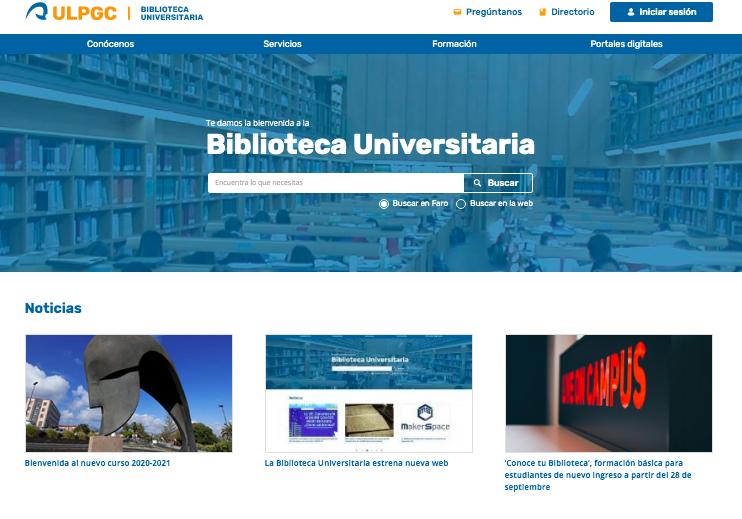 Web de la Biblioteca Universitaria de la ULPGC