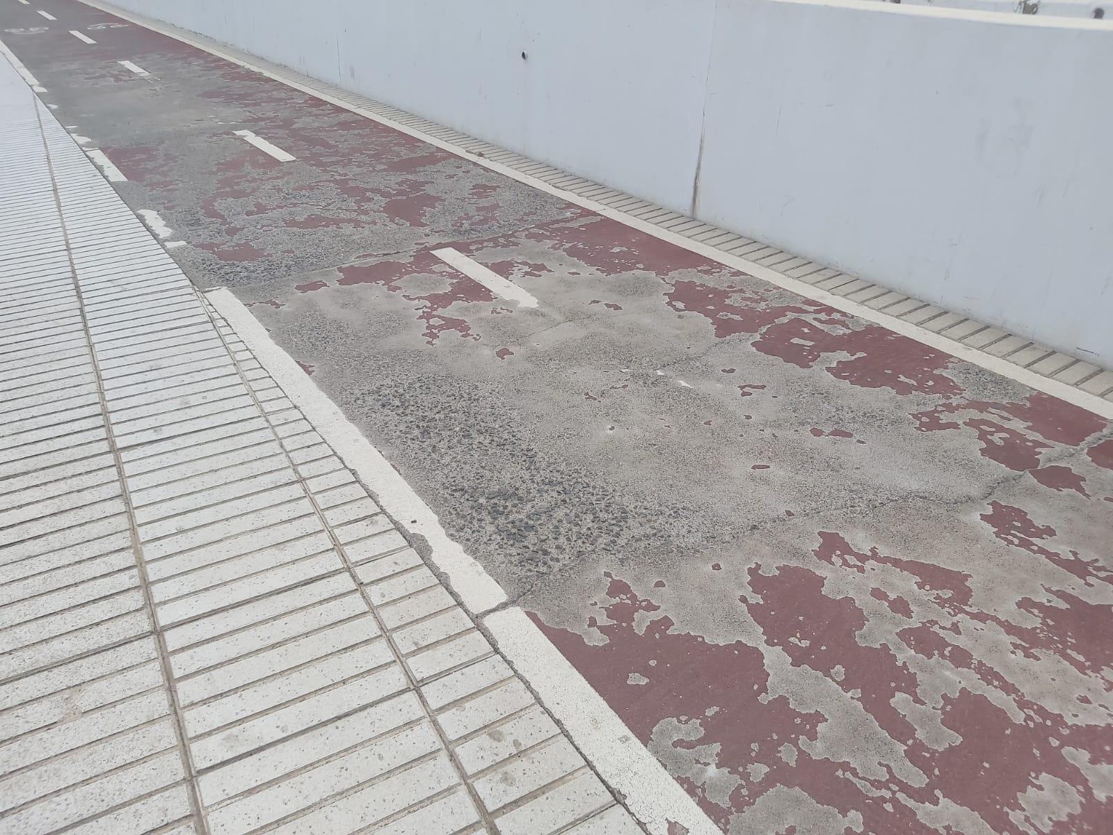 Estado del carril bici de la Avda. Marítima de Las Palmas de Gran Canaria