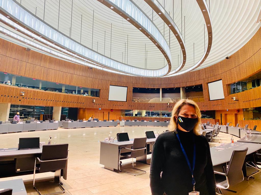 Alicia Vanoostende, en el Consejo de Ministros de Agricultura de la UE