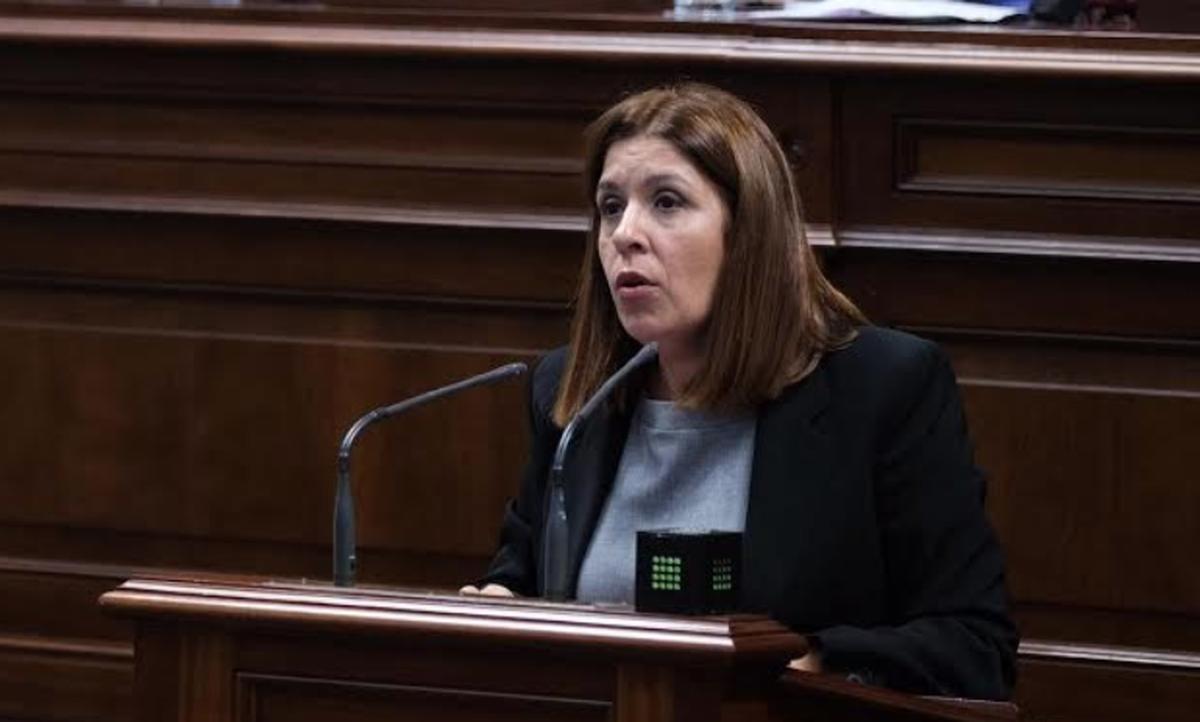 Carmen Hernández en el Parlamento de Canarias