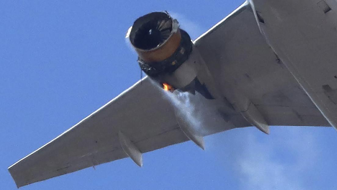 Motor incendiado del Boeing 777/ canariasnoticias