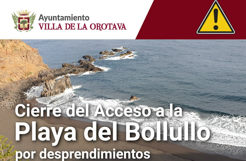 Cierre del acceso a la Playa del Bollullo en La Orotava por desprendimientos / CanariasNoticias.es