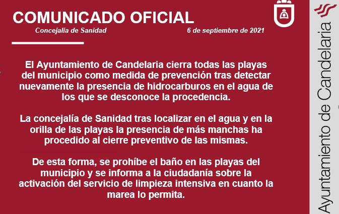 Comunicado oficial del Ayuntamiento de Candelaria del cierre de las playas del municipio