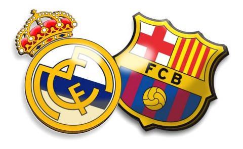 Escudos del Real Madrid y del FC Barcelona