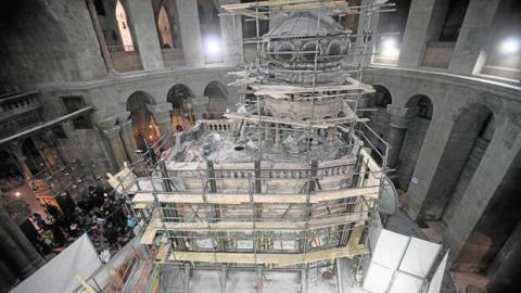 Obras de restauración de la tumba de Jesucristo en Jerusalén