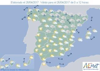 Mapa de España con la previsión del tiempo