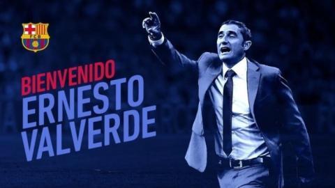Cartel de bienvenida al FC Barcelona de Ernesto Valverde