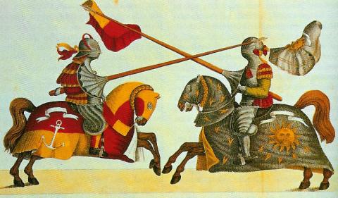 Caballeros en caballo en la Edad Media