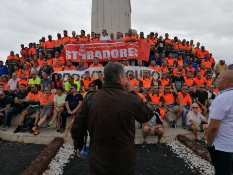 Manifestación de los estibadores de Las Palmas de Gran Canaria