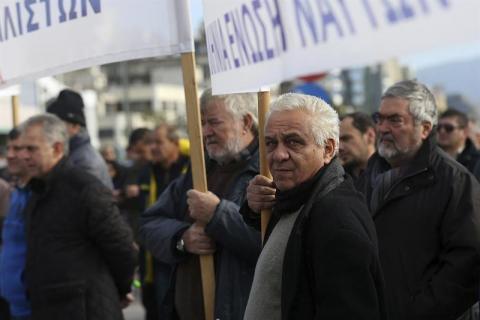 Trabajadores en huelga en Grecia
