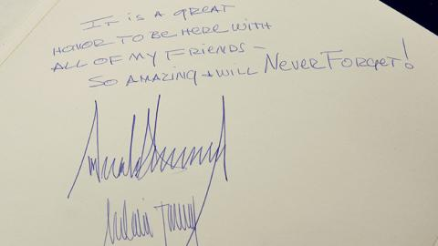 Mensaje de Donald Trump en el libro de visitas del Memorial del Holocausto