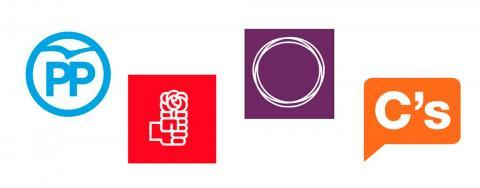 Logos de los partidos políticos de PP, PSOE, Podemos y Ciudadanos
