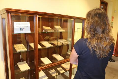 Una mujer observando una exposición en un museo