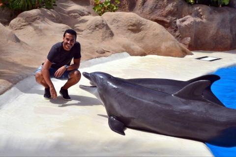 Pedro Rodríguez con una orca