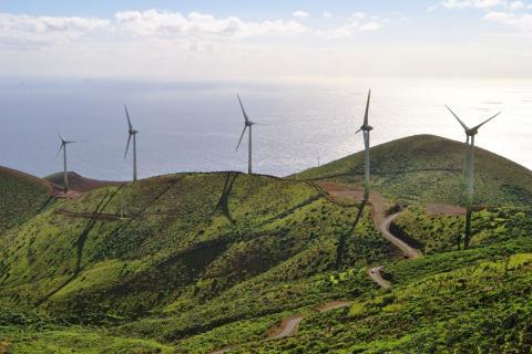 Molinos de energía eólica en Gorona del Viento