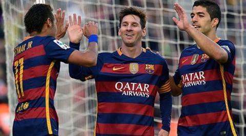Jugadores del FC Barcelona celebrando un gol