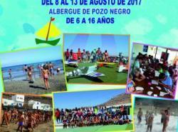 Cartel del campamento de verano de pozo negro
