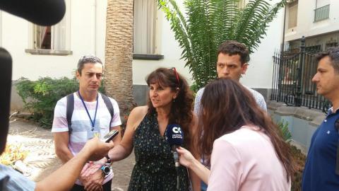 Conchi Monzón con periodistas