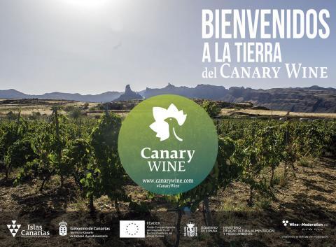 """Cartel de """"Bienvenidos a la tierra del Canary Wine"""""""