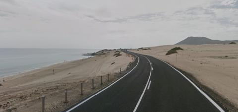 Carretera de las dunas de Corralejo