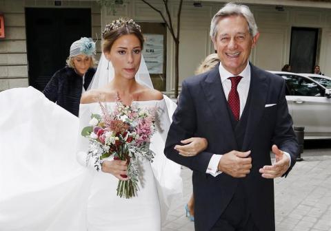 Josema Yuste y su hija en la boda
