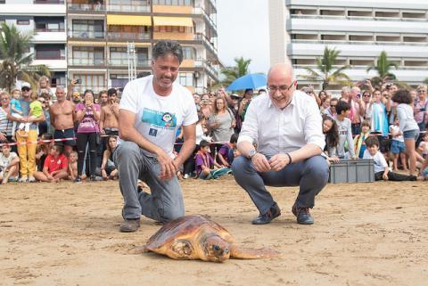 Suelta de tortuga en la playa de las Canteras con Antonio Morales y Miguel Angel Rodríguez