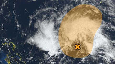 Tormenta Andrea sobre el Atlántico