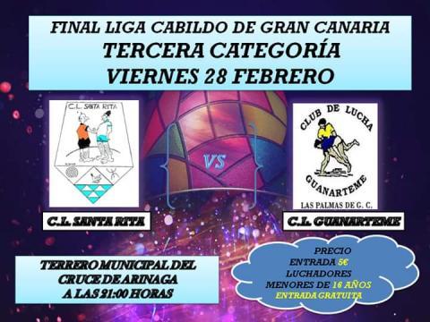 Cartel de la final de la Liga del Cabildo de Gran Canaria de lucha canaria
