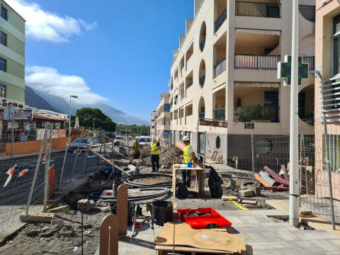 Obras en la Zona Comercial Abierta de Puerto Naos. La Palma