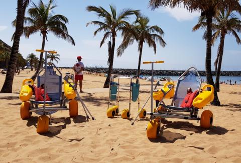 Baño asistido con personal de la Cruz Roja. Santa Cruz de Tenerife