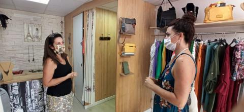 María José Roca visita los comercios de La Laguna. Tenerife