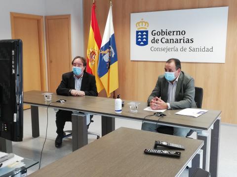 Blas Trujillo y Amós García en la presentación de la Campaña de Vacunación contra la Gripe 2020
